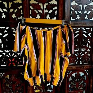 Off shoulder yellow striped top